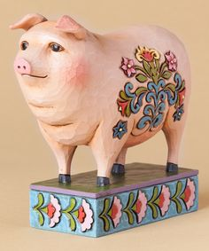 This Folk Pig Figurine by Jim Shore is perfect! #zulilyfinds
