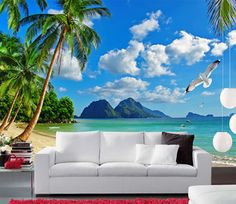 the 3d beautiful scenes wall mural (customized for you) (seaside2