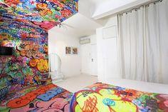 Half Graffitti Hotel Room
