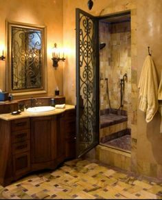 Luxurious Tuscan Bathroom Decor Ideas 72 Tuscan Bathroom Best Images Photos And Pictures Gallery About Tuscan Bathroom Inviting Tuscan Bathroom Design Tuscan Ba Mediterranean Baths, Mediterranean Home Decor, Mediterranean Architecture, Dream Bathrooms, Beautiful Bathrooms, Chic Bathrooms, Tuscan Bathroom Decor, Design Toscano, Style Toscan