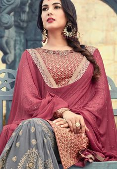 Wine and Grey Party Wear Suit with Sharara Pakistani Wedding Outfits, Red Wedding Dresses, Party Wear Dresses, Event Dresses, Pakistani Dresses, Indian Outfits, Sharara Designs, Cheap Boutique Clothing, Indian Look