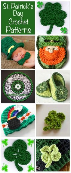 Love these St Patrick's Day Crochet Patterns. Fun Shamrock crochet projects to keep you busy from cute baby crochet St Patty's Day hats and booties to home decor and shamrock hats!