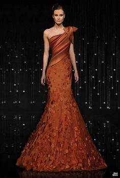 "What I really like is the different kind of color of this gown.  Like a rust/burnt orange/pumpkin ... (Jean Fares ""Breeze Me"" Couture)"