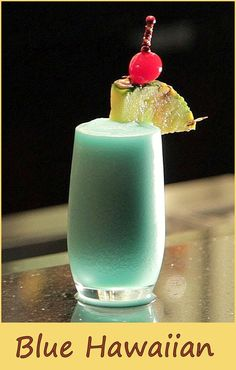 A blue experience… Ingredients 1 oz white rum 1 oz blue curacao 2 oz pineapple juice 1 oz coconut cream pineapple slice and maraschino cherry for garnish ice source: https://www.youtube.com/watch?v=PJ_hAUtuI8c Related
