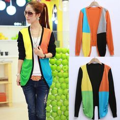 Aliexpress.com : Buy CC818# Tops ! 2013 New Fashion Women Color stitching Air conditioned blouse  Long sleeve Women's Coat Sweater Cardigan from Reliable casual dress suppliers on 2B Fashion Co.,Ltd $9.88