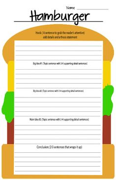 FREEBIE! The 5 paragraph GIANT hamburger---more to come