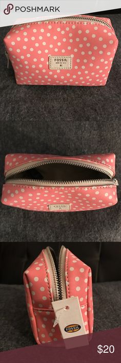 Fossil Pink Polka Dot Cosmetic Pouch This adorable Fossil polka dot cosmetic pouch would make the perfect accent for any purse! Fossil Bags Cosmetic Bags & Cases