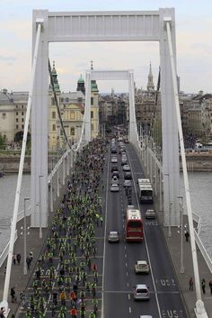 Thousands of cyclists ride across at Budapest's Elizabeth bridge during the Critical Mass bicycle ride across the Hungarian capital, April 22, 2012. The ride was organized to commemorate World Earth Day.