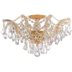 Crystorama Lighting Group Maria Theresa Polished Gold Five Light Semi Flush Mount With Swarovski Strass Crystals 4437 Gd Cl S Gold Ceiling, Ceiling Lights, Glass Ceiling, Ceiling Lamp, Gd And Cl, Maria Theresia, Crystal Candelabra, Crystal Chandeliers, Semi Flush Lighting