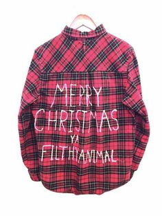 Merry Christmas Ya Filthy Animal - Plaid Flannel Home Alone Shirt in Dark Red Plaid. One of a kind and unisex. Bambiandfalana.com