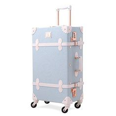 UNIWALKER Light Blue Retro Rolling Luggage with Adjustable Rod Spinner Wheels Vintage Cute Suitcase for Women Carry On Design : Cute and Vintage design is Best Offer Suitcase Tags, Carry On Suitcase, Carry On Luggage, Travel Luggage, Travel Bags, Cute Suitcases, Vintage Suitcases, Vintage Luggage, Travel Accessories