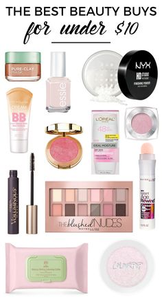 Best Beauty Buys For Under $10. Drugstore Beauty Products. Best Affordable Makeup. Drugstore Makeup Products. Beauty On A Budget. Drugstore Makeup Products.
