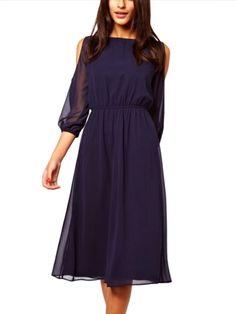 Exquisite Scoop Neck Off Shoulder Pure Color Long Sleeve Dresses