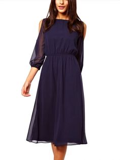 Exquisite Scoop Neck Off Shoulder Pure Color Long Sleeve Dresses