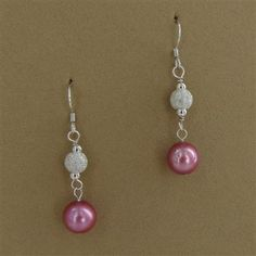 Sterling Silver Pink Pearl Sparkle Dangle Earrings - Fire and Ice