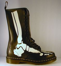 Dr. Martens 1914 Bones Glow In The Dark Skeleton Boots Mens Size 11 Black GOTH  #DrMartens #Military