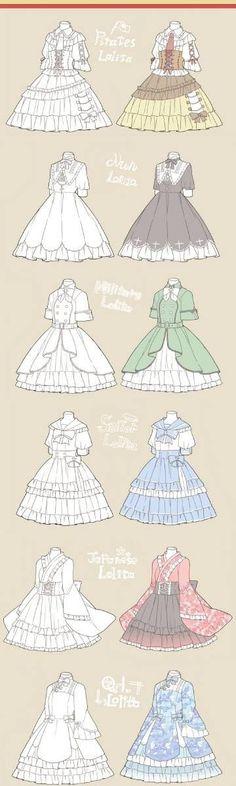 Base para alguien *OMG me Di cuenta que use una rima* dress clothes reference Lolita Fashion, Look Fashion, Fashion Art, Dress Drawing, Drawing Clothes, Dress Design Drawing, Manga Clothes, Clothing Sketches, Anime Dress