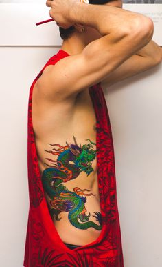 Dragon tattoo #DragonTattooOnSide, #SideTattoo