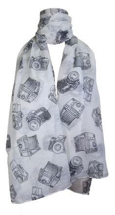 "Lightweight scarf decorated with a vintage camera print design. This print scarf adds a light touch of chic to your look. This pattern is the most popular in this season. Wear with casual or chic outfits to tie your style together.  Size: 188 cm x 93 cm (74"" x 36.5"")  Material: 100% viscose"