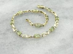 Bright, Lime Green Peridot Bracelet in Classic Yellow Gold - Market Jewelers, Portsmouth, NH