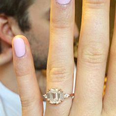 Bespoke of the Day // Here we have a custom Bea with white emerald cut, baguette and round White Diamonds in Rose Gold