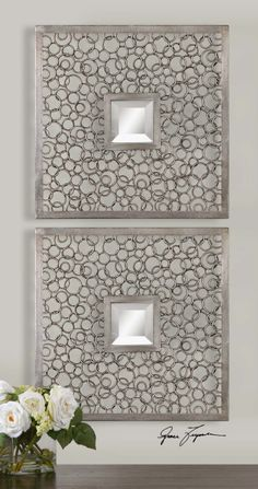 colusa squares by uttermost item07622 metal frames consist of numerous metal rings welded together - Wall Decor Mirrors