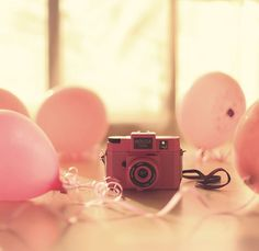 Pink camera and pink balloons makes for a pretty in pink celebration. Pink Camera, Cute Camera, Perfect Camera, Camera Shy, Camera Roll, Camera Lens, Pretty In Pink, Pretty Pics, Holga