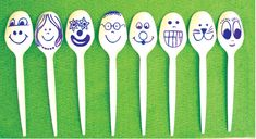 Spoon Puppets.... plastic spoons and markers....