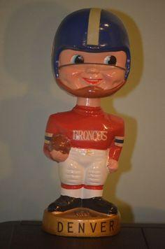 DENVER BRONCOS 1968-1970 GOLD BASE SERIES FOOTBALL BOBBLE HEAD NODDER (FB10)