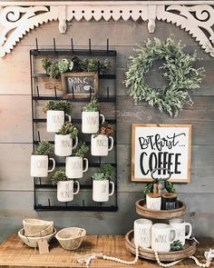 Exceptional modern farmhouse decor are readily available on our internet site. Take a look and you wont be sorry you did. Coffee Bar Home, Home Coffee Stations, Coffee Coffee, Coffee Bar Ideas, Coffee House Decor, Coffee Bar Station, Bunn Coffee, Coffee Room, Coffee Bars In Kitchen