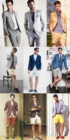 I love the short suit look for summer, but make sure it fits your style. You can… I love the short suit look for summer, but make sure it fits your style. You can either look great or ridiculous. Blazer E Short, Blazer And Shorts, Short Suit, Men's Shorts, Men Blazer, Moda Instagram, Crochet Mens Shorts, Mens Tailored Shorts, Stan Smith Outfit