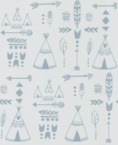 Teepees (HH01001) - Hibou Home Wallpapers - Teepees, arrows, tribal motifs and feathers adorn this fun, wallpaper - perfect for future explorers.  Shown here in the grey green on light grey background. Please request sample for true colour match. Paste the wall product.