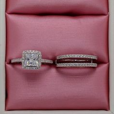 Fashion-Diamonique-CZ-White-Gold-Filled-Engagement-Wedding-Ring-Set-Size-5-11
