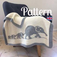 Elephant family blanket pattern baby blanket knit crib