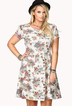 Garden Party Fit & Flare Dress | FOREVER21 PLUS - $24.80 Absolutely in LOVE with the cut of this dress!!!