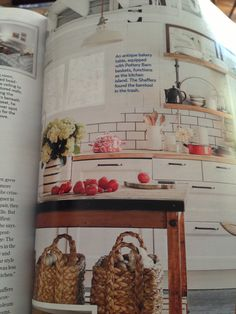 Antique bakery table as kitchen island