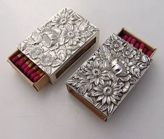 Repousse Match Box Covers 3 Kirk w/Matches Sterling Silver, circa 1940