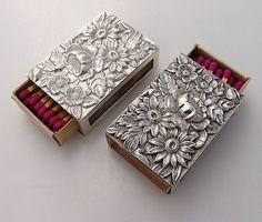 Repousse Match Box Covers 3 Kirk w/Matches Sterling Silver, circa 1940 Aluminum Foil Art, Aluminum Crafts, Metal Crafts, Tin Foil Art, Matchbox Crafts, Matchbox Art, Pewter Art, Pewter Metal, Silver Pooja Items