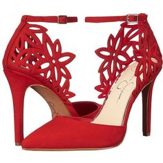 Jessica Simpson Cancan (Red Muse Rio Nubuck) Women's Shoes ($98) ❤ liked on Polyvore featuring shoes, pumps, cut out pumps, pointed toe shoes, cut out shoes, red pumps and red shoes