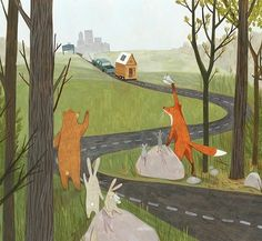 Adorable picture of woodland creatures waving goodbye to one of their own as they move to the city- can't find source to credit artist