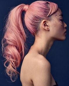 Sleek Ponytail; Bangs; Pink Hair