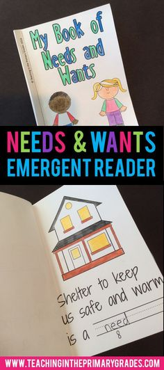 This book provides a fun activity for teaching your first graders about the differences between needs and wants. Each page has a spot for students to fill in a blank or illustrate. It would be a great
