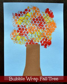 Kids will love making this beautiful Bubble Wrap Fall Tree Craft. A fun fall kids craft for all ages.