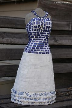 'Miss Angelo' 24 H Tile #Mosaic Dress #Sculpture by Shelly Hamill, Artist http://www.shellyhamill.com/ Available from Esperanza, An Auberge Resort Capricho Gallery  #Cabo San Lucas, #Mexico  52-624-145-6454 email:  lourdes.sandez@aubergeresorts.com $4250.00 #art
