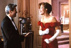 "PRETTY WOMAN Just your typical man hires hooker, hooker has a heart of gold, man transforms hooker into a ""lady,"" man and hooker fall in love story. (Starring: Richard Gere and Julia Roberts; Julia Roberts, Best Romantic Movies, Most Romantic, Best Movie Couples, Romantic Movie Scenes, Tv Couples, Romantic Quotes, Iconic Movies, Great Movies"