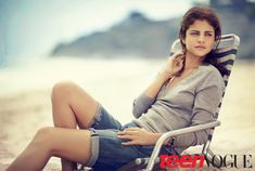 Selena Gomez wears a Lacoste top and Citizens of Humanity shorts in Teen Vogue September 2012