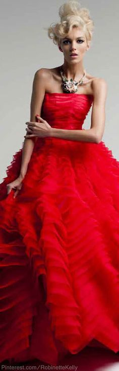 "I love this, this is so beautiful! I would love to wear this. ""Christian Dior - red gown - 2012"