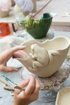 Each piece offered in our pottery store is hand-thrown and sculpted. We have a wide selection of art pottery, art tiles, and tableware to choose from. Hand Built Pottery, Slab Pottery, Pottery Bowls, Ceramic Pottery, Pottery Art, Thrown Pottery, Pottery Sculpture, Sculpture Clay, Sculpture Ideas