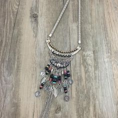 Fringe Romantic Boho Jewelry  Ethnic Pendant Gypsy Necklace Many Chains  Gift for Wife