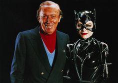 "Batman creator, Bob Kane and Michelle Pfeiffer on set of ""Batman Returns"" (1992)."